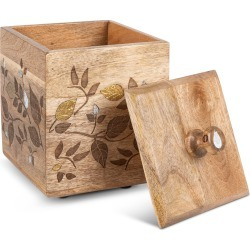 Mango Wood Laser Metal Inlay Leaf Medium Canister found on Bargain Bro India from horchow.com for $104.00