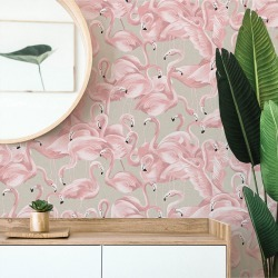 Flamingo Peel & Stick Wallpaper found on Bargain Bro India from horchow.com for $55.00