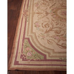 Aubusson Hand-Knotted Luminous Gold Rug, 7.9' x 9.1' found on Bargain Bro India from horchow.com for $9269.00