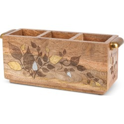 Mango Wood Laser Metal Inlay Flatware Caddy found on Bargain Bro India from horchow.com for $98.00