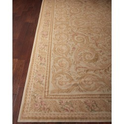 Aubusson Hand-Knotted Golden Beige Rug, 9.9' x 13.9' found on Bargain Bro India from horchow.com for $16349.00