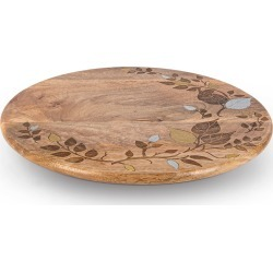Mango Wood Metal Inlay Leaf Lazy Susan found on Bargain Bro India from horchow.com for $145.00