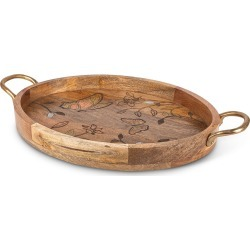 Mango Wood Laser Butterfly Oval Tray found on Bargain Bro India from horchow.com for $205.00