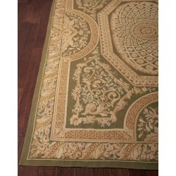 Aubusson Hand-Knotted Olive Rug, 7.9' x 9.9' found on Bargain Bro India from horchow.com for $9229.00