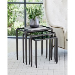 Nested Tables with Smoke Glass Tops, Set of 3 found on Bargain Bro from horchow.com for USD $608.00