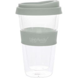 TakeAway Tali Double Wall Glass Coffee Cup with Lid 450ml Grey found on Bargain Bro Philippines from house.com.au for $15.71