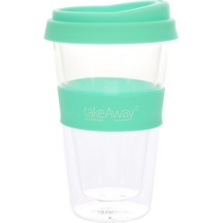 TakeAway Tali Double Wall Glass Coffee Cup with Lid 450ml Mint Green found on Bargain Bro Philippines from house.com.au for $15.71