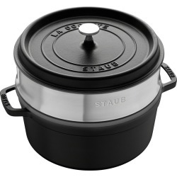 Staub Enamelled Cast Iron Round Cocotte with Steamer 26cm Black 5.2L found on Bargain Bro Philippines from house.com.au for $392.91
