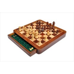 "WOODEN MAGNETIC Travel Chess Set - 10"" Square"