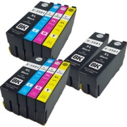 Compatible Epson 35XL Ink Cartridge TWIN Multipack + 2 FREE Black Ink [10 Pack] BK/C/M/Y found on Bargain Bro UK from internet ink