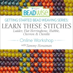 Getting Started Bead Weaving Series: Learn These Stitches - Ladder, Flat Herringbone, Hubble, Chevron and Chenille with Tammy Honaman found on Bargain Bro from Interweave Store for USD $18.99