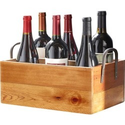 Recycled Wood Wine Carrier with Wrought Iron Handles #19227