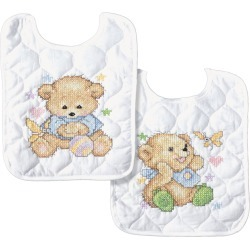 Tobin Baby Stamped Cross Stitch Baby Bears Bib