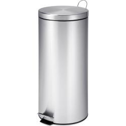 Honey Can Do 30L Round Trash Can Stainless Steel