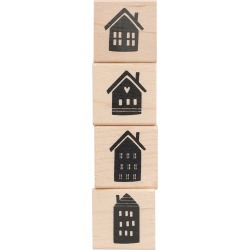 American Crafts Wooden Stamp Set Houses