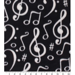 Anti Pill Plush Fleece Fabric Music Notes