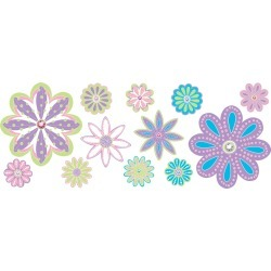 Wall Pops - Patchwork Jeweled Daisy Flowers Wall Decal Kit, 48 Piece...