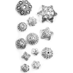 Blue Moon Findings Bead Cap Metal Value Pack Mix 6 - 16mm Antique Silver