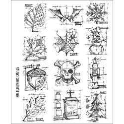 Tim Holtz Stampers Anonymous Large Cling Rubber Stamp Set Mini Blueprint - Paper Crafting - Stamping - Stamps at JOANN