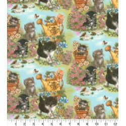 Novelty Cotton Fabric Kittens in Garden - 2 Yrds Min found on Bargain Bro Philippines from JOANN Stores for $7.49