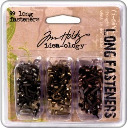 Tim Holtz Idea - Ology Long Fasteners Antique Metallic - Paper Crafting - Scrapbook Supplies - Embellishments