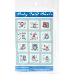 "Fairway Needlecraft 12 pk 9""x9"" Stamped Baby Quilt Blocks - Owls"