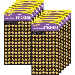 Gold Stars superShapes Stickers Foil 12 Packs