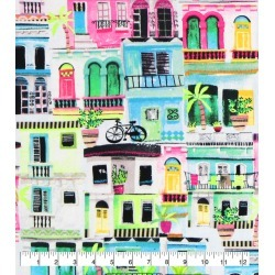 Super Snuggle Flannel Fabric Watercolor Houses