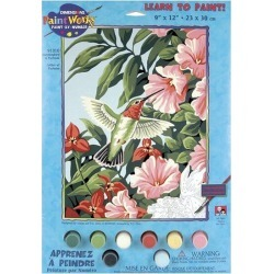 Dimensions Learn To Paint! Paint By Number Kit - Hummingbird & Fuchsias