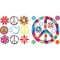 Wall Pops - Tie - Dye Peace Appliques, 37 Piece Set -...