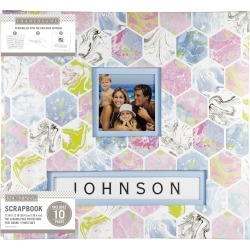 "K & Company 12""x12"" Frame A Name Scrapbook Marbled Hexagon"