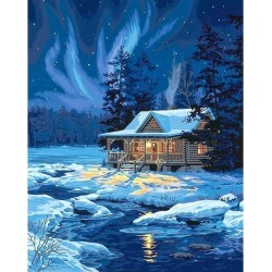 """Paint By Number Kit 16""""X20"""" Moonlit Cabin"""