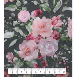 Casa Dahlia Organza Fabric Floral Print on Black