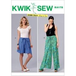 Kwik Sew Pattern K4178 Misses' Wrap Shorts & Pants - Size XS - S - M - L - XL