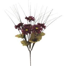 "Bloom Room Fall Harvest 17"" Marigold & Grass Bush - Burgundy"