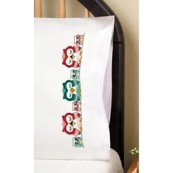Tobin Stamped Pillowcase Pair For Embroidery Owls