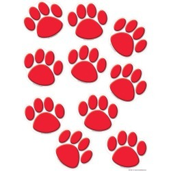 Red Paw Prints Accents 30 pk, Set Of 6 Packs