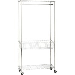 Honey Can Do Rolling Laundry Clothes Rack with Shelves