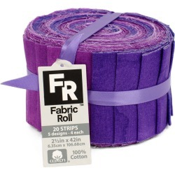 """Jelly Roll Cotton Fabric Pack 2.5""""x42"""" Purple Texture"""