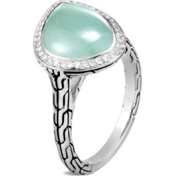 John Hardy Women's Classic Chain Power Rock Ring, Sterling Silver, 14x10MM Gem and Dia