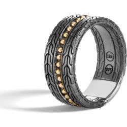 John Hardy Men's Chain Jawan 10MM Band Ring in Blackened Sterling Silver and 18K Gold found on MODAPINS from John Hardy Jewelry for USD $695.00