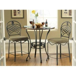 Steve Silver 3 Piece Wimberly Counter Dining Set, 2 Chairs, Metal Base and Dark Cherry Finish found on Bargain Bro India from Kitchen Source for $356.00