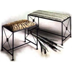 Grace Neo Classic Wrought Iron Bench, 20in, Catwalk Fabric, Gun Metal Finish found on Bargain Bro India from Kitchen Source for $184.91