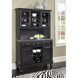 Mix and Match Premium Large Buffet, Stainless Steel Top on Black Server with Two Door Hutch