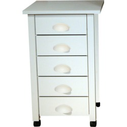 American Furnishing 5 - Drawer Mobile Cart, 18? W x 18? D x 29? H, White