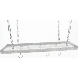 Rogar 35 inch Rectangular Hanging Pot Rack in Stainless Steel