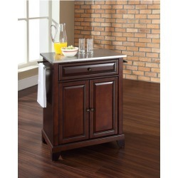 Crosley Furniture Newport Stainless Steel Top Portable Kitchen Island in Vintage Mahogany Finish found on Bargain Bro Philippines from Kitchen Source for $256.49