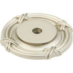 Schaub Solid Brass Forgings Rectangular Backplate For Knob With Detailed Design, Satin Nickel