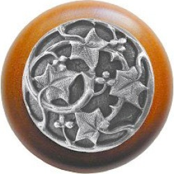 Notting Hill NHW-715M-AP, Ivy/Natural Wood Knob, Antique Pewter, 1 1/2 inch diameter