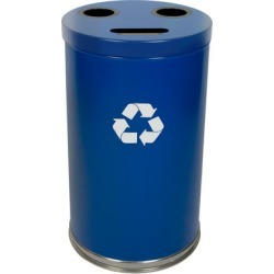 Witt Steel Combo Recycling Trash Container, Blue, 33 Gal.